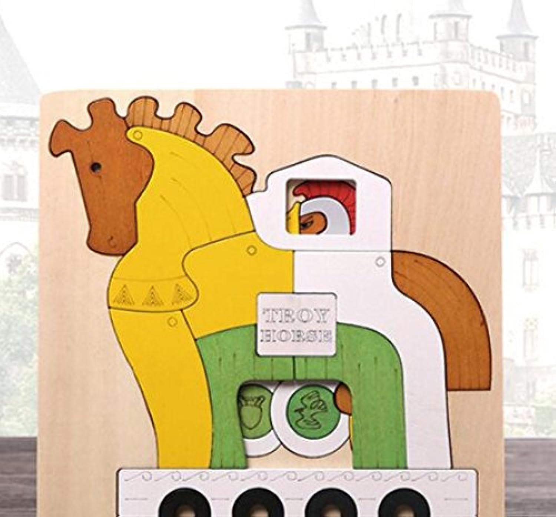 HuaQingPiJu-JP 創造的な木の多層パズルアーリーラーニング番号の形の色の動物のおもちゃキッズのための素晴らしいギフト(木馬)