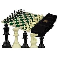 king Tournament Roll-Up Staunton Chess Set w/ Travel Canvas Bag - Green by KING [並行輸入品]