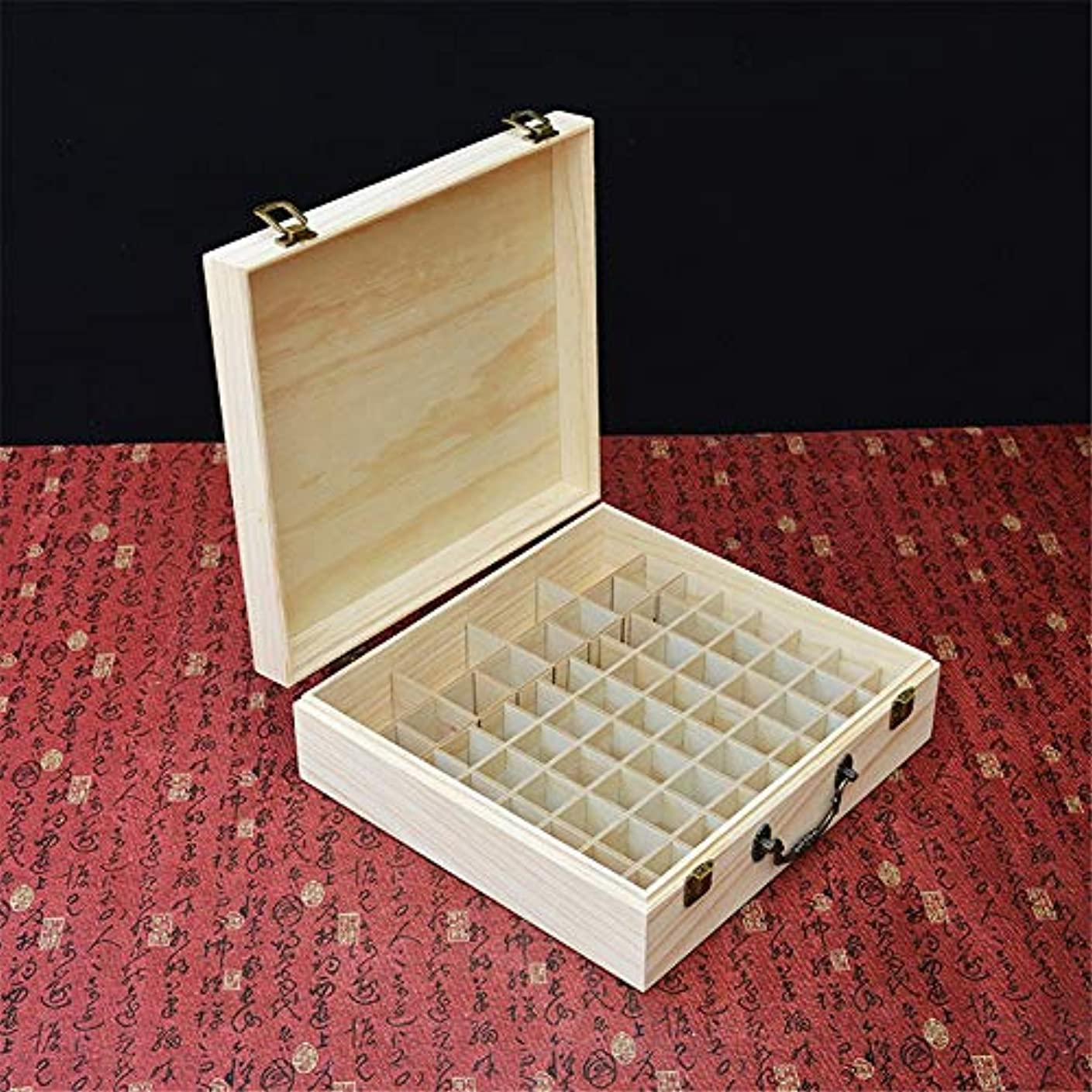 ロック解除聖人キノコ旅行やプレゼンテーションのために66スロット木製エッセンシャルオイルストレージボックスパーフェクト アロマセラピー製品 (色 : Natural, サイズ : 31.5X29X10CM)