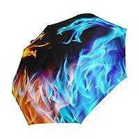 deyyaブルーandレッドFireドラゴン3Folds Auto Open Close Umbrella