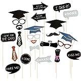 BinaryABC卒業写真ブース小道具キット、卒業式パーティー装飾24pcs
