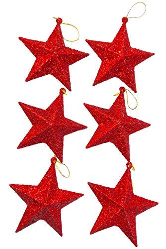 asaichi 星 スター 型 9cm クリスマス パーティー ツリー オーナメント 壁 装飾 飾り ペンダント デコレーション アレンジ クリスマスツリー コーディネート (レッド 9cm 6個)
