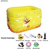 折りたたみ式インフレータブル厚く暖かい子供用バスタブ、スパ用浴槽、ベビープールアドバンストインフレータブルプール耐久性に優しいPVC、黄色 (Color : A, Size : L)