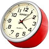 Movebest 置き時計 ミニ時計 レッド 車用 小型 クオーツ 時計 アナログ表示 かわいい