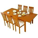 LOWYA (ロウヤ) 伸縮 ダイニングテーブル 7点セット 6人掛け ポーラビーチ