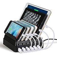 Maxnic 6ポートUSB充電ステーション スマートフォンとタブレットなどUSB急速充電器[44W / 2.4A Max]、最大6台の端末収納 多功能充電スタンド