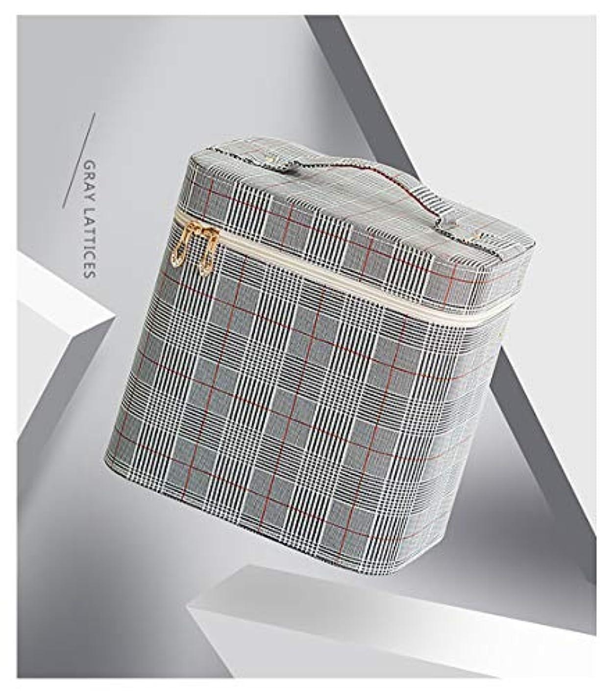 製品頑固な信条SZTulip コスメボックス メイクボックス 大容量メイクケース 化粧品収納ケース 小物入れ 鏡付き 化粧箱 (グレー+レッドチェック)