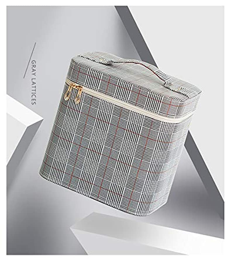 綺麗なりんごのヒープSZTulip コスメボックス メイクボックス 大容量メイクケース 化粧品収納ケース 小物入れ 鏡付き 化粧箱 (グレー+レッドチェック)