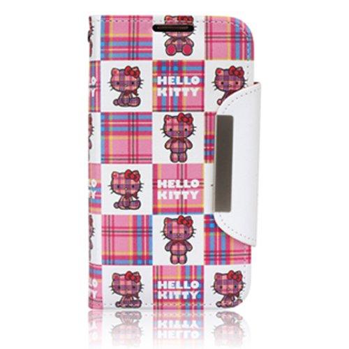 【HELLO KITTY】ハローキティ正規品 手帳型ケース ストラップ付 (Galaxy S3/S3α, Check)