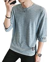 夏服 メンズ Tシャツ メンズ 半袖 カットソー 七分袖 五分袖 高品質 おしゃれ 快適な 無地 軽い 柔らかい カジュアルな服装 蓝 2XL