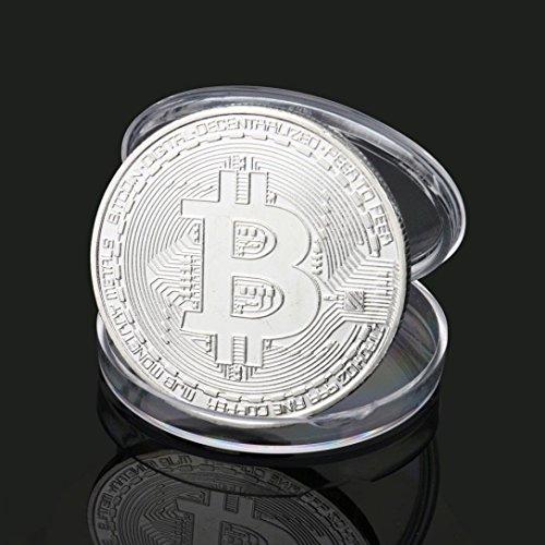 ビットコイン Bitcoin Collectible ギフト バーチャル レプリカ 仮想 通貨 コイン グッズ アートコレク メッキ ライトコイン 記念硬貨 コレクション 一枚入り (シルバー)