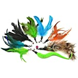 8-Pack Multi Piece Replacement Colorful Feathers Pack Plus Bonus Soft Furry Tail for Interactive Cat and Kitten Toy Wands