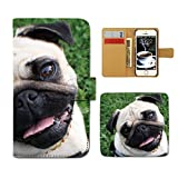 Tiara HUAWEI SIMフリー P8lite スマホケース 手帳型 犬 いぬ イヌ ペット パグ フレンチブルドッグ 手帳ケース カバー [D026604_02]