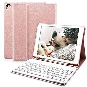 ipad 9.7 キーボードカバー Apple pencil 収納 ペンシルホルダー付き ワイヤレスキーボードケース 手帳型 ビジネスカバー 一体型 (ピンク)