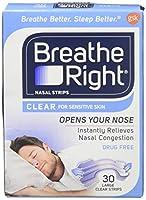 海外直送品Breathe Right Breathe Right Nasal Strips Clear Sensitive Skin, Large, 30 each (Pack of 4)