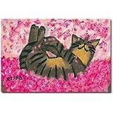 猫の足あと ポストカード 「桜のなかでごろん」