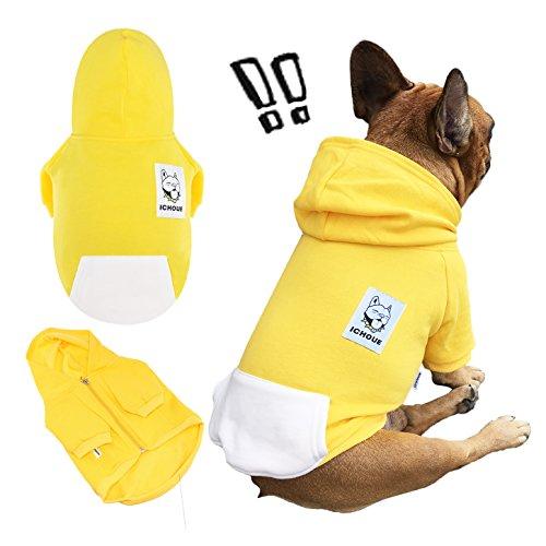 iChoue 犬服 フレンチ ブルドッグ パグ パーカー ジップ オーバー フード付き シャツ 黄色 イエロー 柴犬 ...