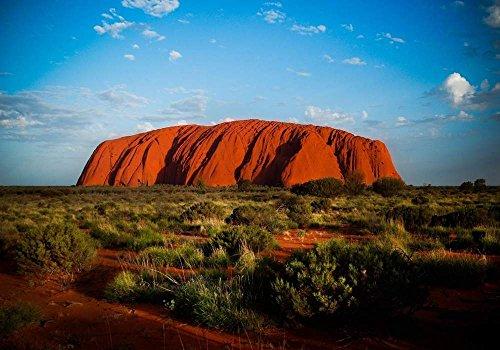 オーストラリアエアーズロック 風景の写真 キャンバス印刷アートポスター(60cmx90cm)