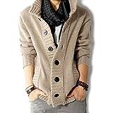 SHEYA カーディガン メンズ ニット カーデ ゆったり着れる 大きいサイズ セーター ガウン ポケット ロング 春 秋 冬 メンズ カーディガン 6色 (ベージュ(L))