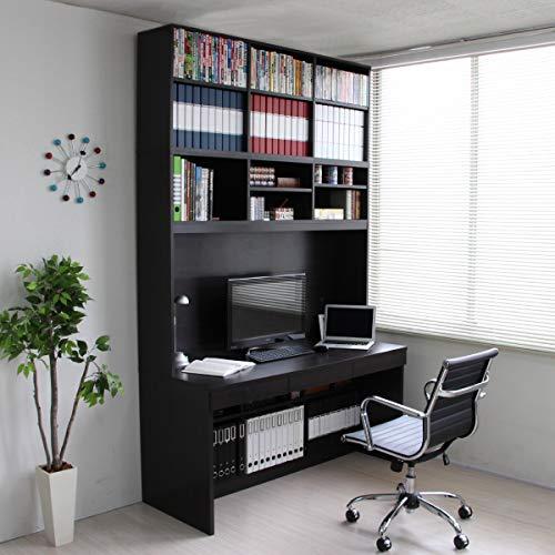 【予約販売11月上旬入荷予定】パソコンデスク システムデスク オフィスデスク 書斎 140cm幅 大型デスク W本棚付き ハイタイプ 3点セット J-Supply Ltd.(ジェイサプライ) ダークブラウン RP008-DBR