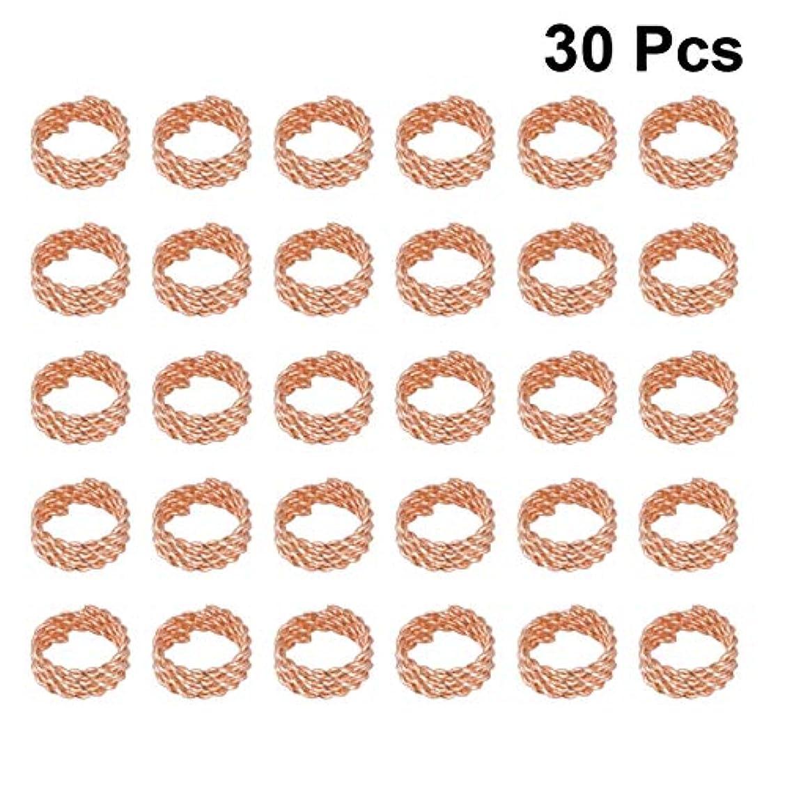 トレッド平等会社Healifty 30ピースドレッドロックスビーズメタルヘアブレードリングエクステンションクリンプウィッグカフスクリップ編組ヘアジュエリーアクセサリー用女性男性(ローズゴールド)