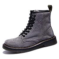 [GoldFlame-JP] マーティンブーツ レディース ワークブーツ ハイカット 編み上げ レースアップ スエード ローヒール ショート 厚底ブーツ 可愛い 学生靴 トラベル カジュアル ショートブーツ ブラック黒