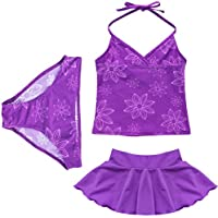 TiaoBug Girls 3pcs Purple Floral Halter Tankini Top Beachwear Swimwear Swimsuit Sets SZ 3-14Y