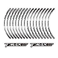 PRO-KODASKIN TMAX 530SX オートバイホイールデカール12リムステッカーセット TMAX 530 SX用 シルバー K-TP-00190-TM-2