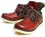 (リベルト エドウィン) LIBERTO EDWIN ワークブーツ レイン トレッキング シューズ ブーツ 2WAY 折り返し 防水 防寒 メンズ 靴 27cm Wine ワイン レッド