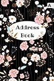Address Book: 6x9 Medium Contact Notebook Organizer with A-Z Alphabetical Tabs | Large Print | Romantic Flower Stripe Design Black