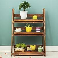 木製防腐棚屋外折りたたみ多層花のスタンド無垢材のポット棚リビングルームの棚