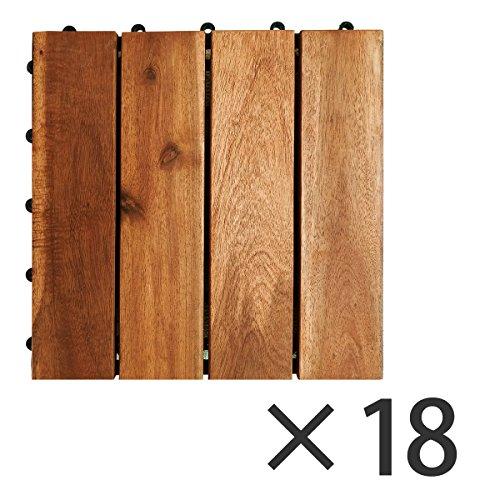 セミー工業『ブランチ 天然アカシア ジョイント式ウッドパネル 18枚セット』