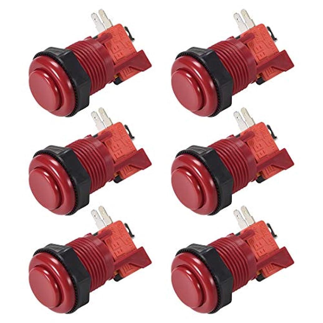 トチの実の木代表して記者uxcell 27mm取り付け穴  モメンタリーゲームプッシュ ボタンスイッチ マイクロスイッチ付き アーケードビデオゲーム用 赤 6個