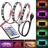 LED TV Backlight, Amazer-T USB LED Strip Light, RGB Multi-Colour LED Light Strip Kit, 60LED with Wireless Remote Controller f