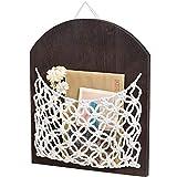 Mkono Macrame Mail Holder Wall Mount Magazine Storage Basket Wood Bedside Shelf Organizer Rack Woven Hanging Pocket Ideal for Letters, Bills, Glasses, Keys,Wallet, Manicure Kit Boho Wall Decor