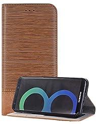 Samsung Galaxy S8 手帳型 ケース ギャラクシーs8 スマホケース カバー 脱着簡単 カードポケット 高品質 人気 おしゃれ カバー(ライトブラウン)