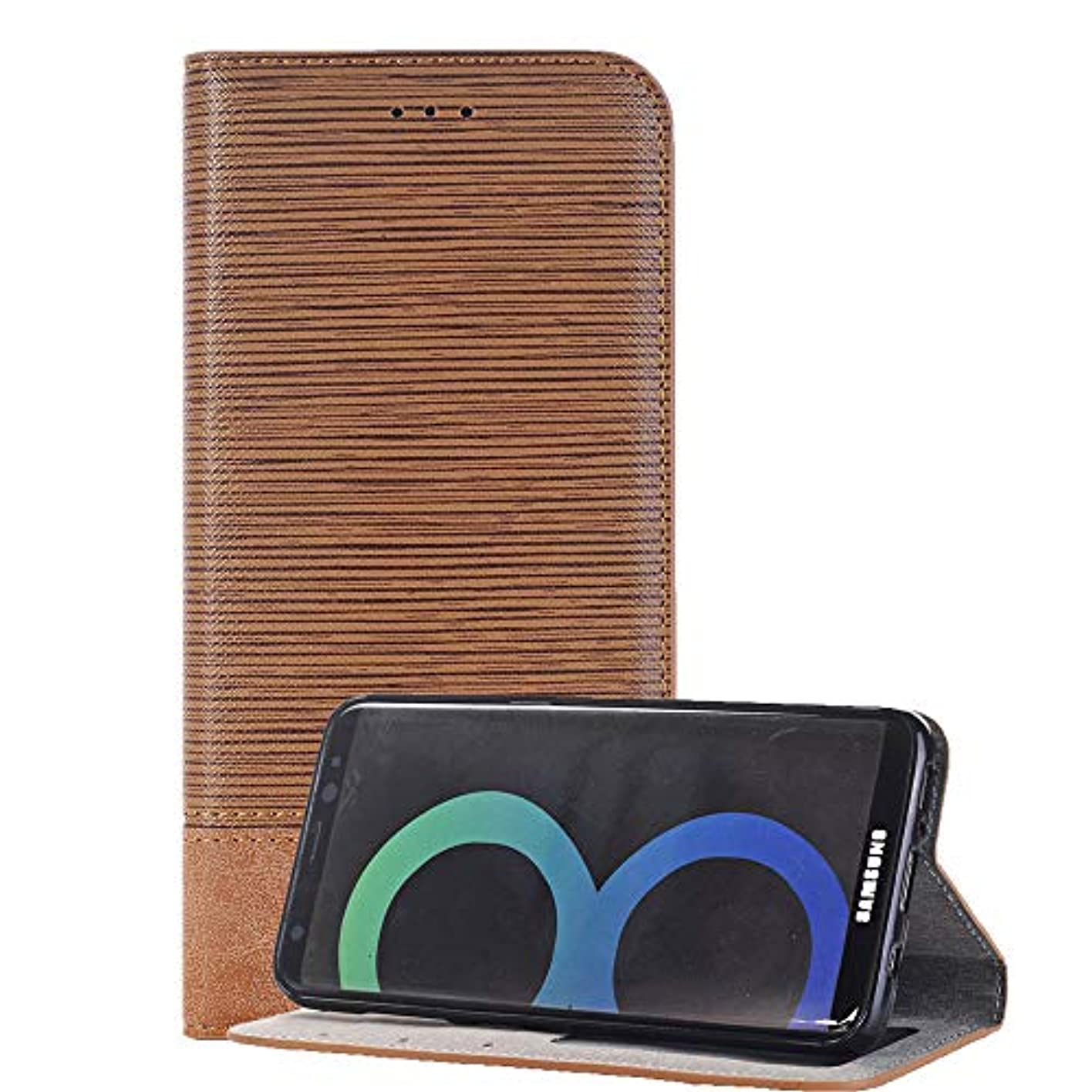 執着ホステススロープSamsung Galaxy S8 手帳型 ケース ギャラクシーs8 スマホケース カバー 脱着簡単 カードポケット 高品質 人気 おしゃれ カバー(ライトブラウン)