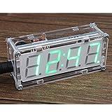 KKmoon 4桁 LED時計 LED電子時計 DIYデジタルLED時計キット マイクロコントローラ 0.8インチ デジタルチューブクロック DIYキットモジュール 温度計時間別チャイム機能付