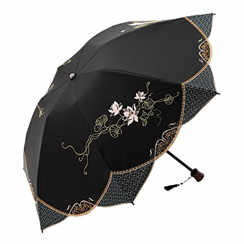 遮光蓮花刺繍ミニ折りたたみ日傘 (ブラック)