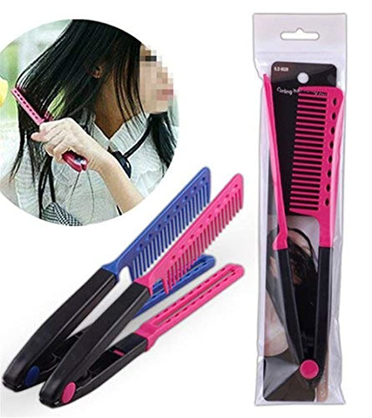 1Pc DIY Salon Hair Brush Combs Hairdressing Styling Hair Straightener V Shaped Straight Comb Color Random [並行輸入品]