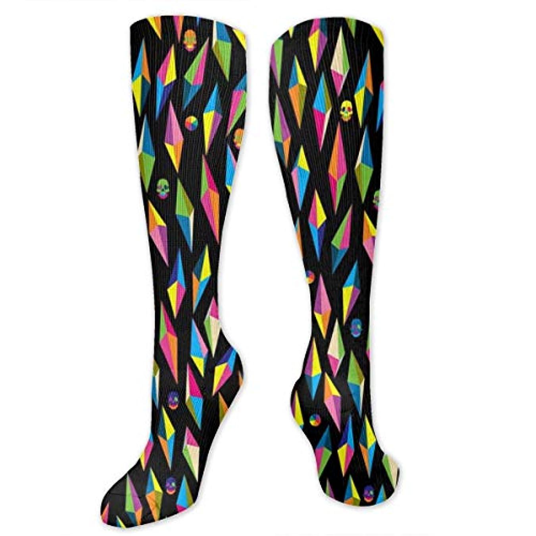 刺激する判定繁雑レディースFunny Casual Socks - 綿のカラフルな幾何学的な頭蓋骨の運動靴下