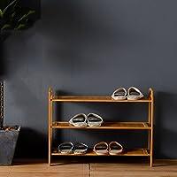 シューズラック- 3つの床靴ラックソリッドウッドシンプルな収納キャビネット家具竹オーガナイザー棚 (サイズ さいず : 50cm)