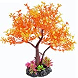 "Saim Artificial Orange Yellow Tree Plastic Plant Decor for Aquarium Fish Tank Bonsai Ornament 8.6"" Height"