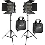 Neewer 2 Pieces Bi-color 660 LED Video Light and Stand Kit Includes:(2)3200-5600K CRI 96+ Dimmable Light with U Bracket and Barndoor and (2)75 inches Light Stand for Studio Photography, Video Shooting