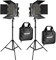 Neewer 2 Pieces Bi-color 660 LED Video Light and Stand Kit Includes:(2)3200-5600K CRI 96+ Dimmable Light with U Bracket...