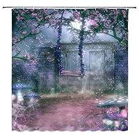 ファンタジーゲート春の花浴室の窓の装飾のための生地のホックが付いているポリエステル防水シャワー・カーテン60X72in
