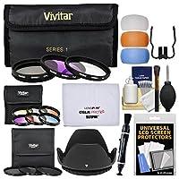 Vivitar 55mm 12-pieceコーティングガラスフィルターキット(UV/FLD/CPL、3ニュートラル密度& 6Graduatedカラーフィルター) +レンズフード+フラッシュDiffusers +キット