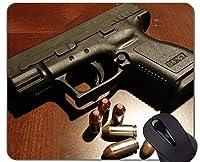 マウスパッド滑り止め、銃弾薬拳銃パーソナライズ長方形ゲーミングマウスパッド