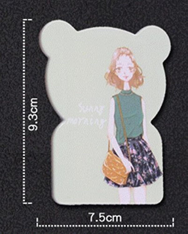 HuaQingPiJu-JP 折り畳み可能なミニ漫画の小型ベアパターンミラー工芸品の装飾化粧品アクセサリーのための櫛