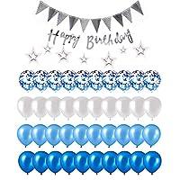 【豪華セット】風船 セット 誕生日 飾り付け Happy Bairthday バルーン 40個入り 紙吹雪風船 ブルー デコレーション 星柄 結婚式/パーティー/お祝い/部屋飾り クリスマス